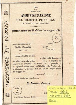 1831 Stati di Terraferma in Bianco