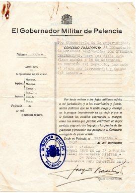 1937-Lasciapassare ,rilasciato al Comandante Legionaro Castronuovo Giovanni a Palencia -Salamanca