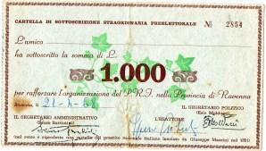 1968 Partito Repubblicano--'Cartella di Sottoscrizione Straordinaria Preelettorale''da l.1000 data a Ravenna