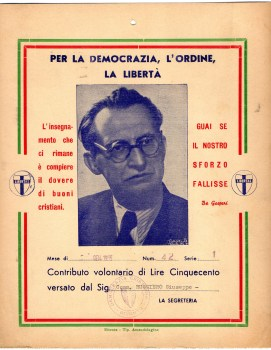 1955 Democrazia Cristiana---ALcide De Gasperi Sottoscrizione da L.500 RIC, Dal Comm.Ruggiero Giuseppe