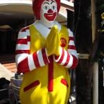 "i'm happy to report, Ronald McDonald still gives a cheery ""wai"""