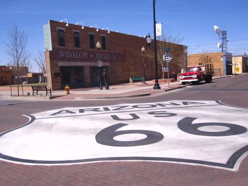 Standing on a corner in Winslow, AZ