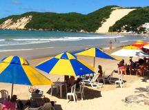 Ponto Negra Beach in Natal, Brazil, with Bald Hill in the distance.
