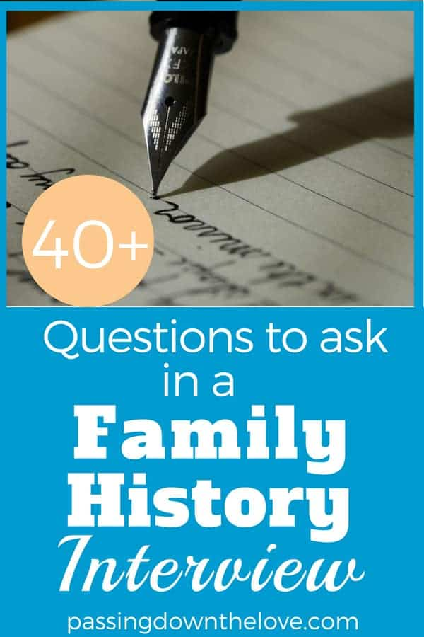 Preserve your family history through personal interviews.  40+ question to use in an interview.  Ask family members questions to document your family history