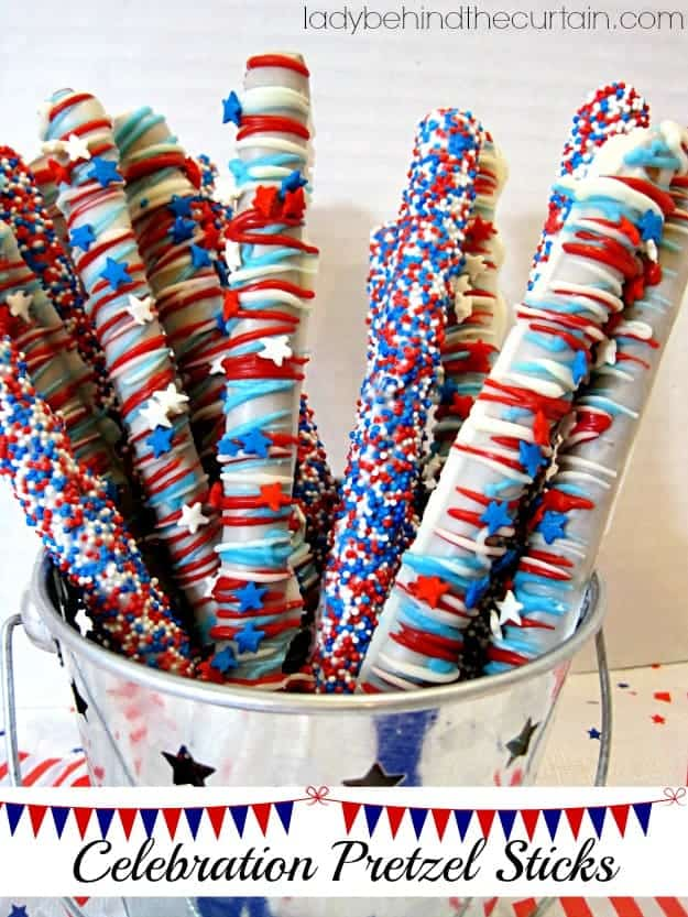 Celebration Pretzel Sticks Red, white and blue Patriotic dessert