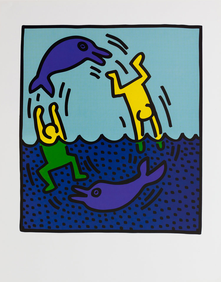 keith haring poster dolphins 1983