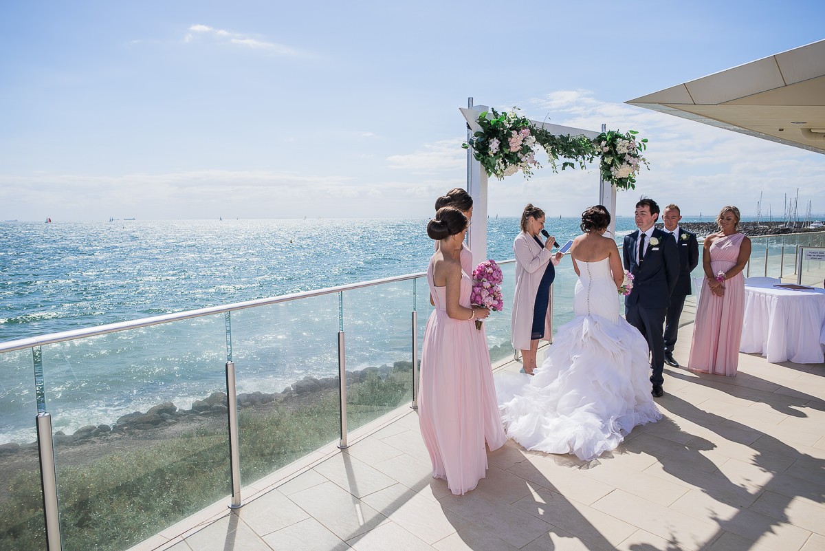 wedding ceremony at sandringham yacht club