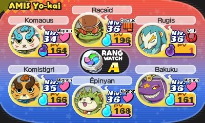 Yo-kai watch 2 - exemple d'equipe