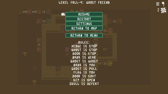 Test Baba is You Switch - niveau plus complexe et regles dans menu pause