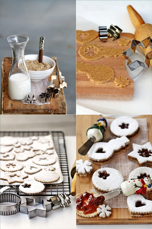 Toasted Walnut Linzer Cookies with Strawberry Filling
