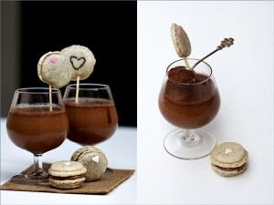Mousse-a-cotta with Sesame Macarons