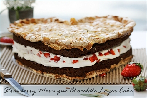 Strawberry Meringue Chocolate Layer Cake