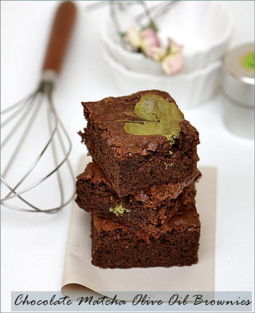 Baking| Chocolate Matcha Olive Oil Brownies … and an origami crane for Japan