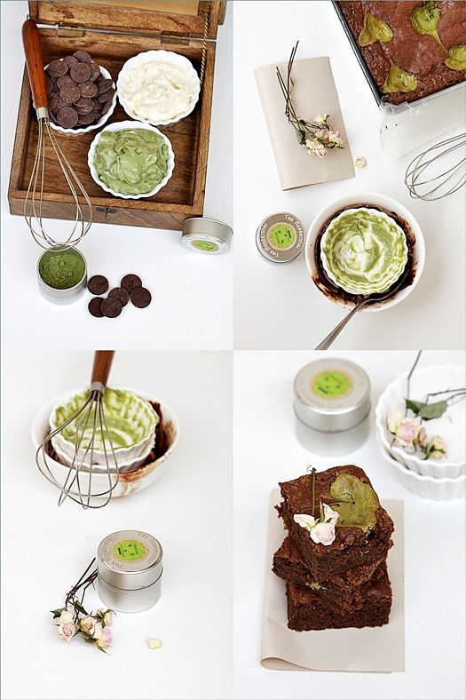 Chocolate Matcha Olive Oil Brownies