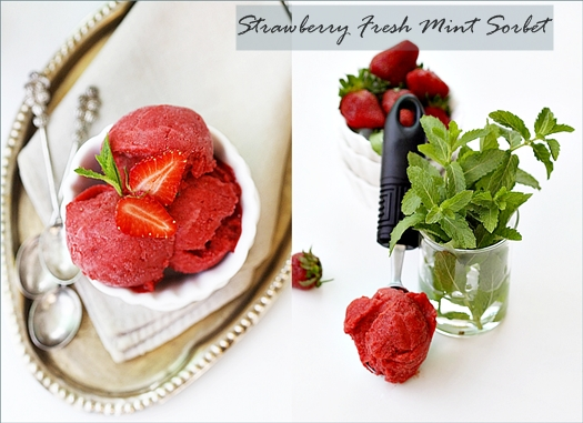 Frozen Dessert| Strawberry Fresh Mint & Lime Sorbet … summer's here & macarons too!