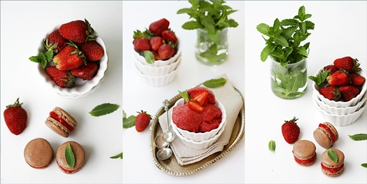 Chocolate Macarons with Strawberry Fresh Mint Sorbet