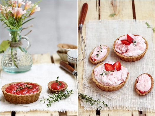 Whipped Strawberry Curd Cream Tartlets with Walnut Shortbread Crust