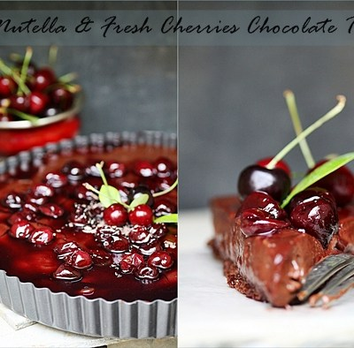 Baking| Nutella & Fresh Cherries Chocolate Tart … May with Megan @ The Secret Recipe Club