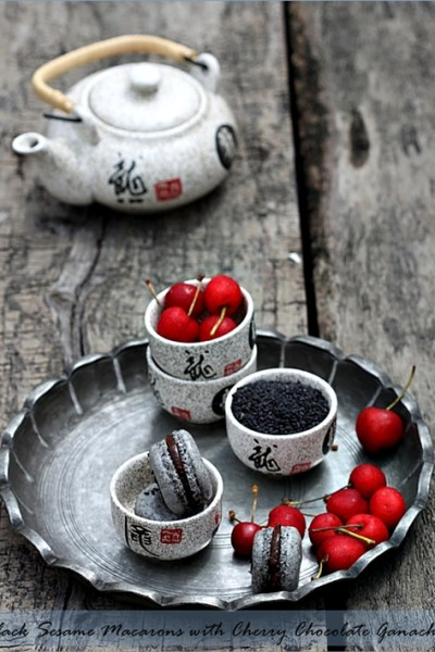 Baking| Black Sesame Macarons with Cherry Chocolate Ganache … a guest post