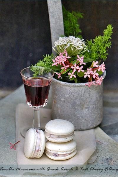 Baking| Vanilla Macarons with Quark Kirsch & Tart Cherry Filling … Mactweets & a Best Blog Award!