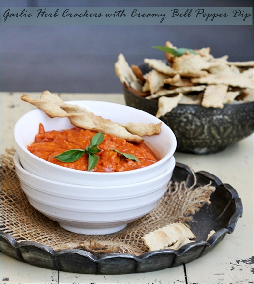 Baking| Garlic & Herb Whole Wheat Crackers with Roasted Red Bell Pepper Dip … SRC