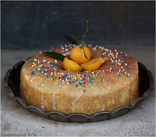 Orange olive oil buttermilk pound cake with a citrus glaze