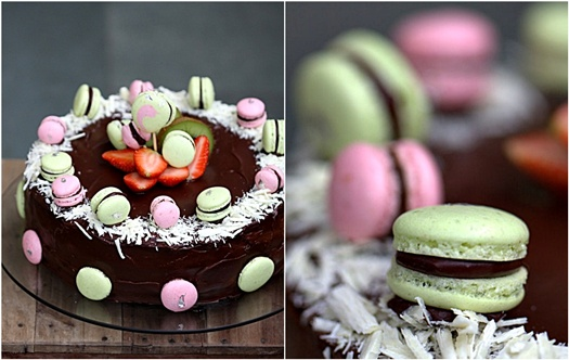 Strawberry & Kiwi Bavarian Cake with Razzle Dazzle Macarons