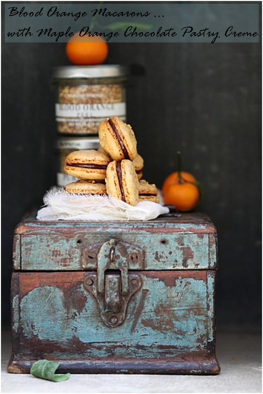 Blood Orange Macarons with Maple Orange Chocolate Pastry Creme