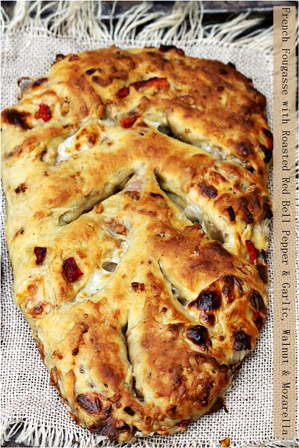 French Fougasse with Roasted Red Bell Pepper & Garlic, Walnut & Mozarella