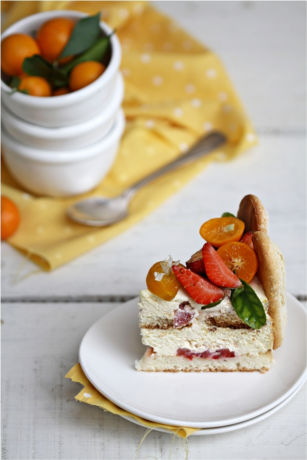 Kumquat & Strawberry Tiramisu Charlotte