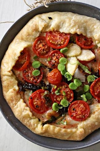 Baking | Savoury Chicken Galette … Cherry Tomato with Green Garlic Pesto & Roasted Veggies with Smoked Sea Salt {Baking with Julia}