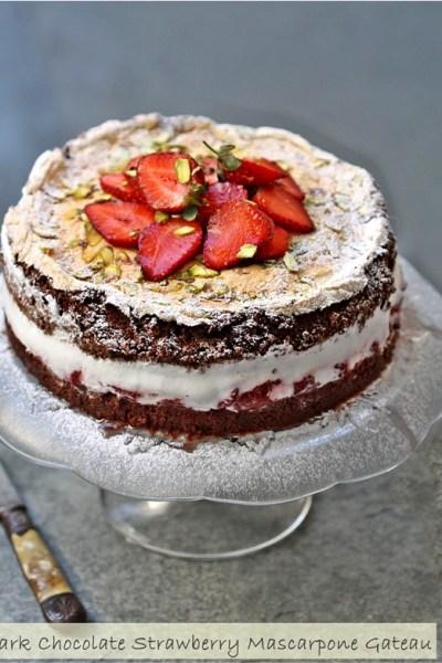 Baking   Gluten Free Dark Chocolate Strawberry Mascarpone Gateau … deep, dark, delicious & flour-less!