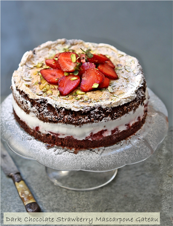 Baking | Gluten Free Dark Chocolate Strawberry Mascarpone Gateau … deep, dark, delicious & flour-less!