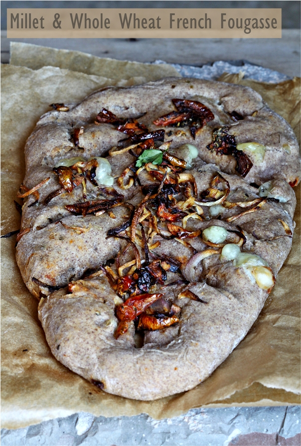 Baking   Millet & Whole Wheat French Fougasse … rustic bread with caramelised onions, walnuts, dehydrated tomatoes and mozzarella
