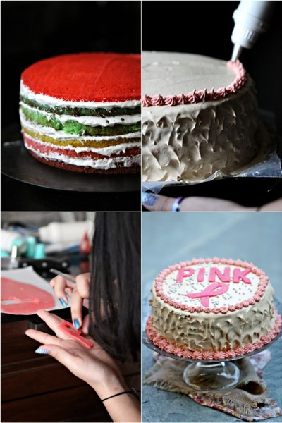 Baking   Rainbow Cake for Pinktober … THINK PINK #birthday #pinktober