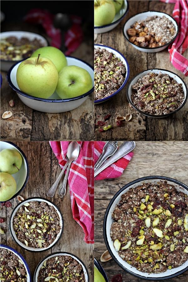 GF Apple Pistachio Craisin Crumble ... with oats and finger millet {ragi}
