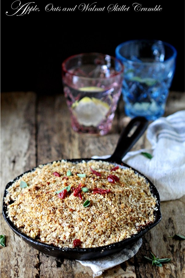 Baking | Apple, Oats and Walnut Skillet Crumble … warm, fun and gluten free comfort food