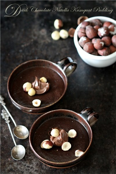 No Bake | Dark Chocolate Nutella Kumquat Pudding … indulgent, addictive and gluten free. Eggless too!