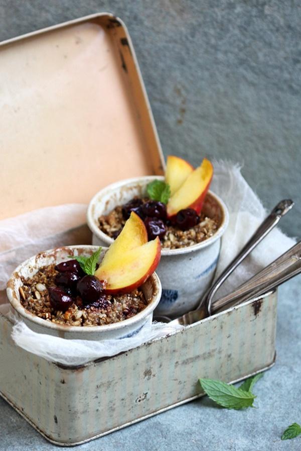 Baking | Peach & Cherry GF Granola Crumbles … delightful, healthy summer dessert #glutenfree #healthy #dessert