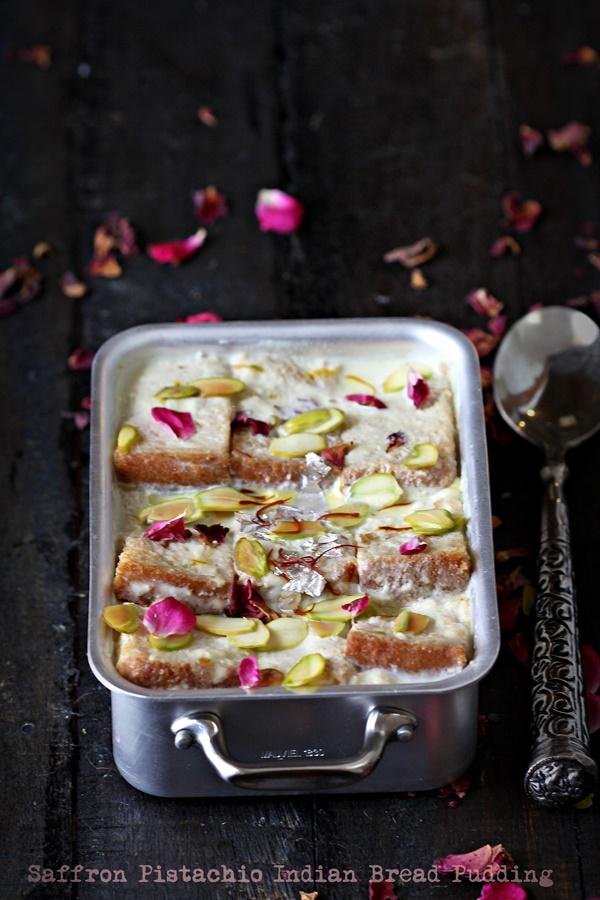 Saffron Pistachio Indian Bread Pudding