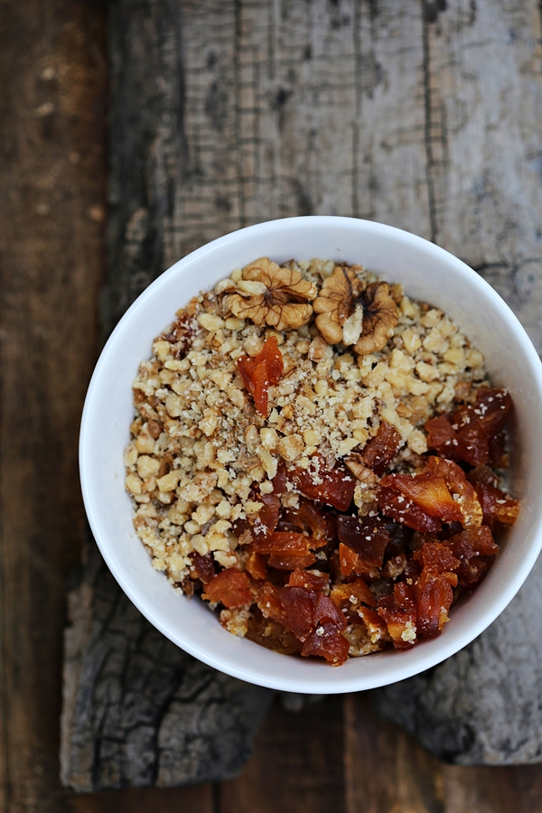 Wholegrain Xmas Stollen dried peaches + walnuts +orange peel