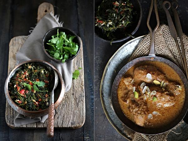 Baby mustard greens stir fry& Chicken korma