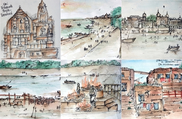 Varanasi, ink sketches, Meher Rajpal 2014