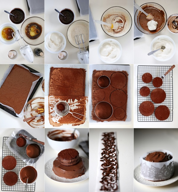 Step by step Flourless GF Mini Dark Chocolate Layered Cake