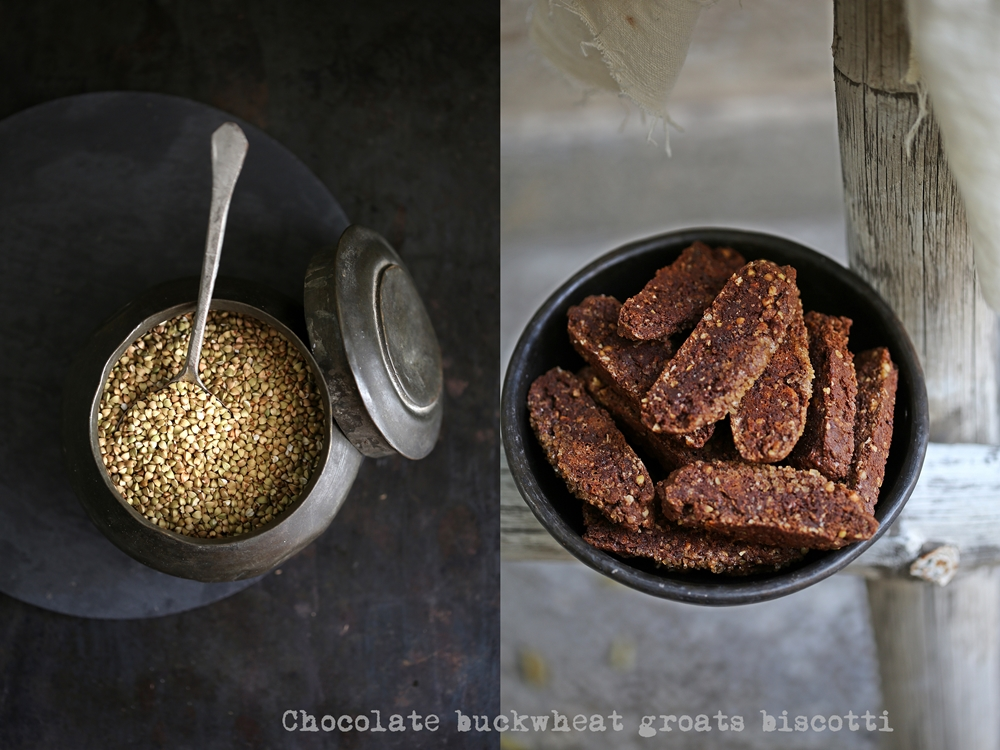 Chocolate buckwheat groats biscotti