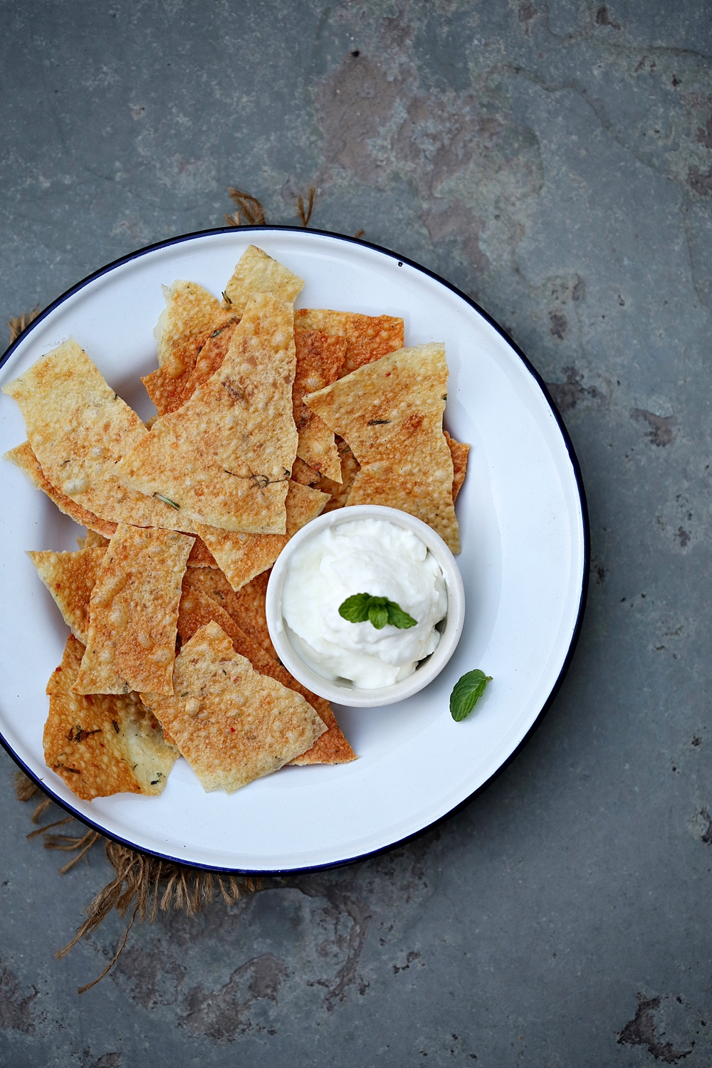 Aloo papad with garlic quark dip