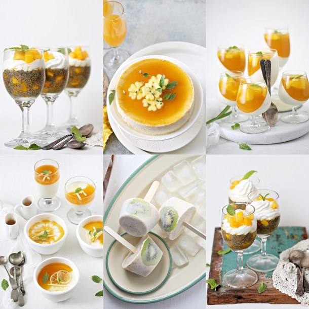 Mango-Dessert-Collage-1000 Mango Coconut Pudding ... a celebration of Alphonsos #dessert #nobake #mango