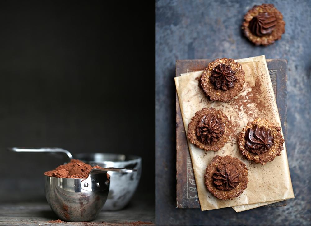 Oat & Walnut Cookie Pies with Dark Chocolate Ganache