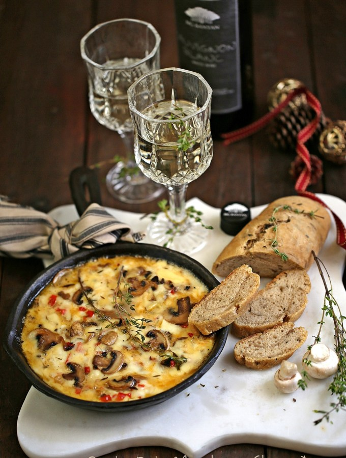 Baking | Smoky Baked Mushroom Cheese Dip with #bigbanyanwines for the holidays