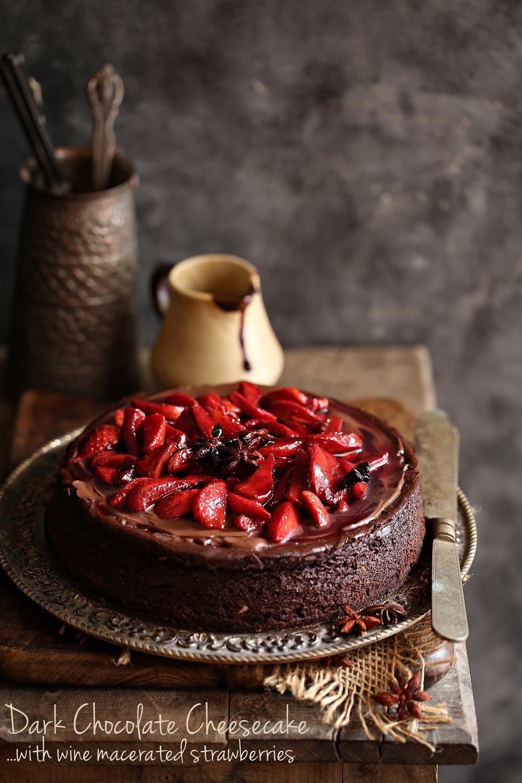 Baking Dark Chocolate Cheesecake With Wine Macerated Strawberries